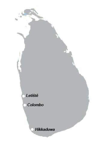 Poloha Hikkaduwy na Srí Lance
